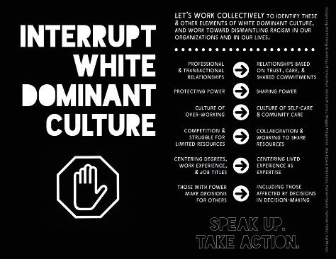 Guide for interrupting white dominant culture