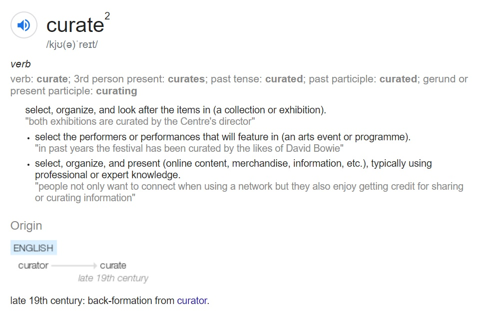 Curating definition from dictionary