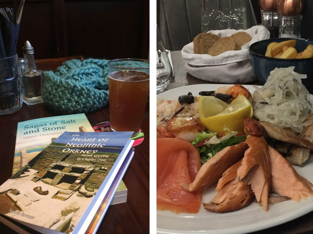 Books, pint of beer and seafood dinner